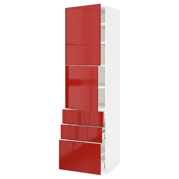 METOD / MAXIMERA High cabinet with 2 doors+3 drawers, white/Ringhult red, 60x60x220 cm