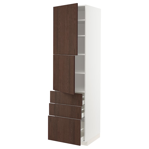 METOD / MAXIMERA High cabinet with 2 doors+3 drawers, white/Sinarp brown, 60x60x220 cm