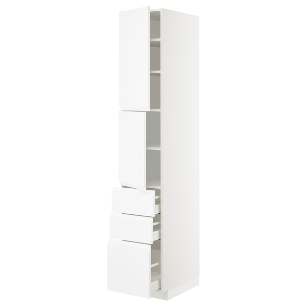 METOD / MAXIMERA High cabinet with 2 doors+3 drawers, white/Voxtorp high-gloss/white, 40x60x220 cm