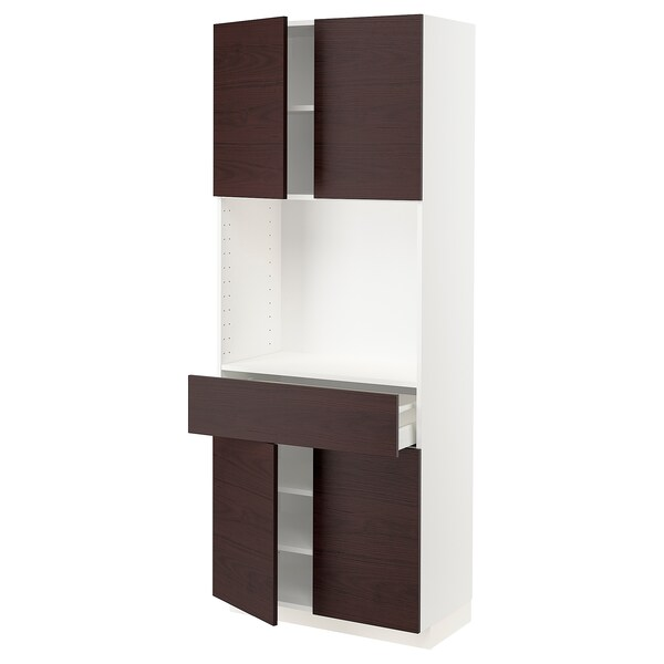 METOD / MAXIMERA High cabinet with 4 doors+1 drawer, white Askersund/dark brown ash effect, 80x41x200 cm