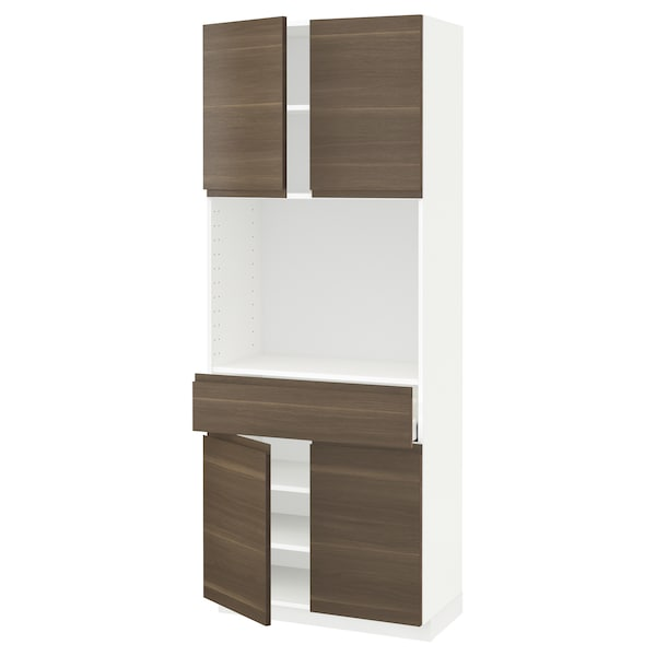 METOD / MAXIMERA High cabinet with 4 doors+1 drawer, white/Voxtorp walnut effect, 80x41x200 cm