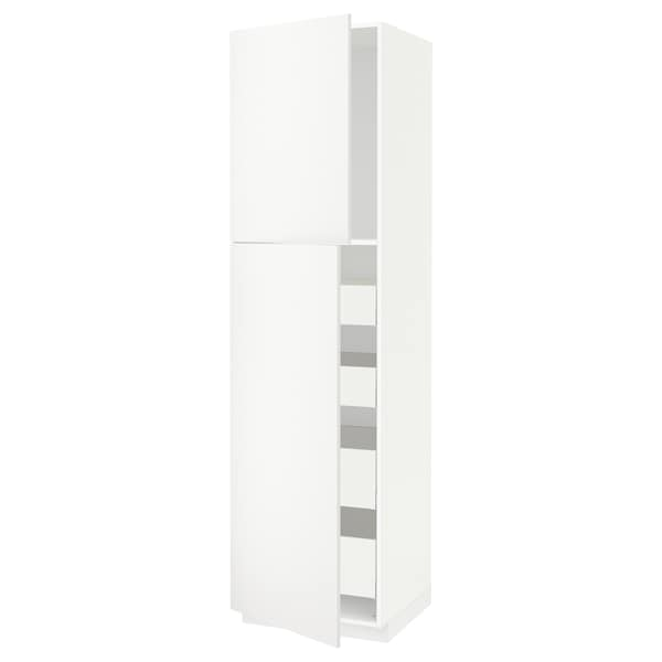 METOD / MAXIMERA High cb w 2 doors/shelves/4 drawers, white/Häggeby white, 60x60x220 cm