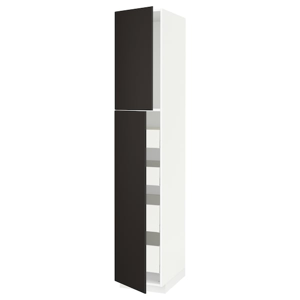 METOD / MAXIMERA High cb w 2 doors/shelves/4 drawers, white/Kungsbacka anthracite, 40x60x220 cm