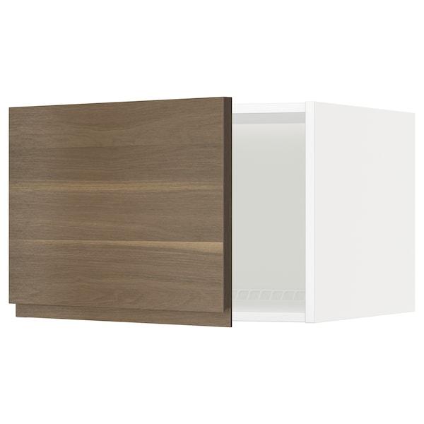 METOD Top cabinet for fridge/freezer, white/Voxtorp walnut effect, 60x60x40 cm