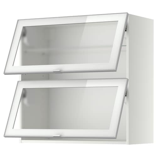 METOD wall cab horizontal w 2 glass doors white/Jutis frosted glass 80.0 cm 38.8 cm 80.0 cm