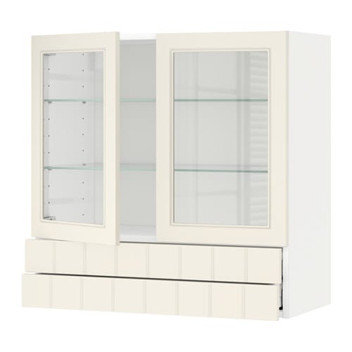 METOD Wall cab w 2 glass doors/2 drawers - Lerh black stained ...