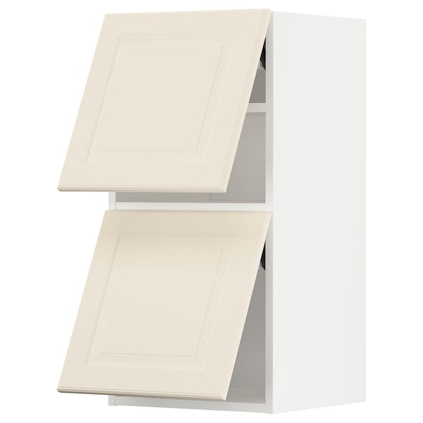 METOD Wall cabinet horizontal w 2 doors, white/Bodbyn off-white, 40x37x80 cm