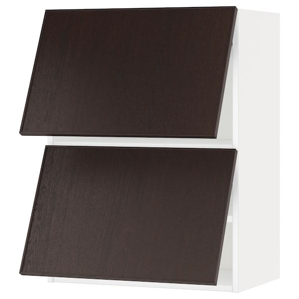 METOD Wall cabinet horizontal w 2 doors, white/Ekestad brown, 60x37x80 cm