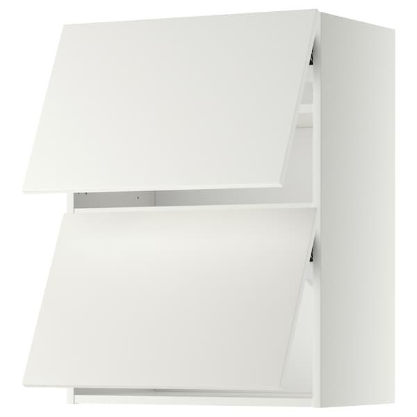 METOD Wall cabinet horizontal w 2 doors, white/Häggeby white, 60x37x80 cm