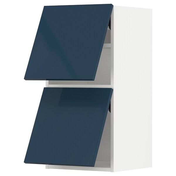 METOD Wall cabinet horizontal w 2 doors, white/Järsta black-blue, 40x37x80 cm