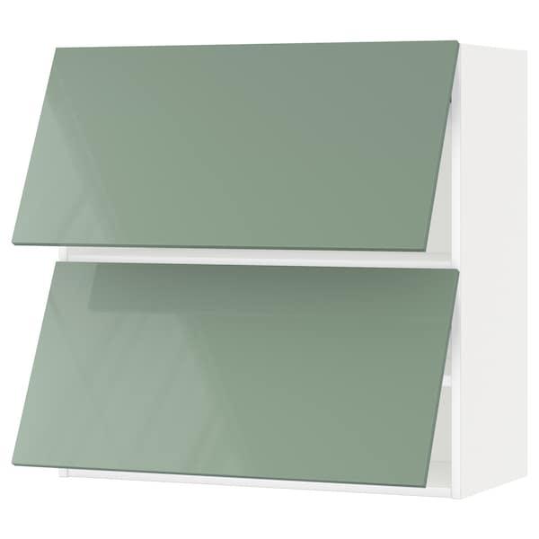 METOD Wall cabinet horizontal w 2 doors, white/Kallarp light green, 80x37x80 cm