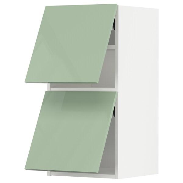 METOD Wall cabinet horizontal w 2 doors, white/Kallarp light green, 40x37x80 cm
