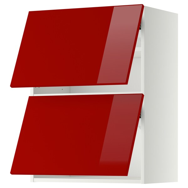 METOD Wall cabinet horizontal w 2 doors, white/Ringhult red, 60x37x80 cm