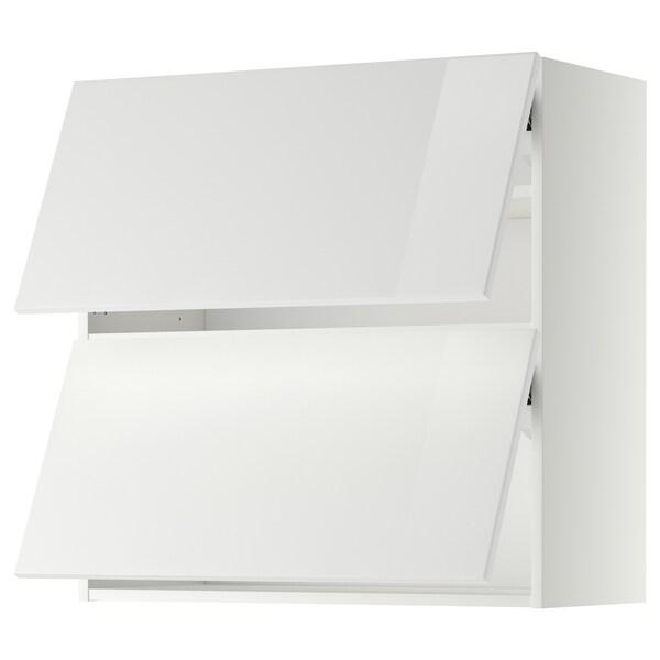 METOD Wall cabinet horizontal w 2 doors, white/Ringhult white, 80x37x80 cm