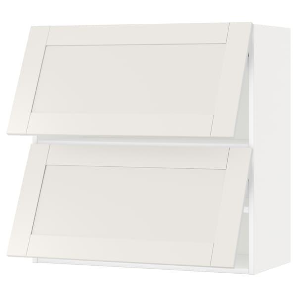 METOD Wall cabinet horizontal w 2 doors, white/Sävedal white, 80x37x80 cm
