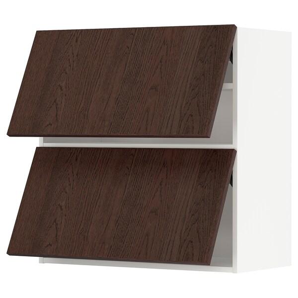 METOD Wall cabinet horizontal w 2 doors, white/Sinarp brown, 80x37x80 cm