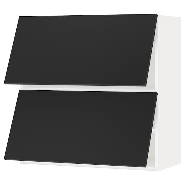 METOD Wall cabinet horizontal w 2 doors, white/Uddevalla anthracite, 80x37x80 cm