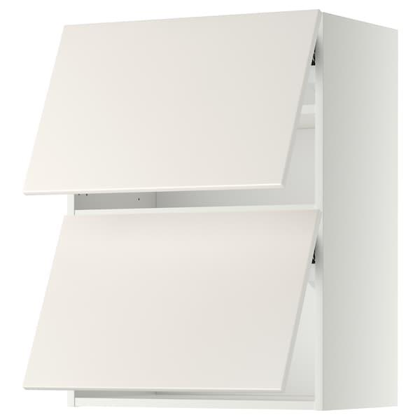 METOD Wall cabinet horizontal w 2 doors, white/Veddinge white, 60x37x80 cm
