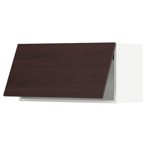 METOD Wall cabinet horizontal, white Askersund/dark brown ash effect, 80x37x40 cm