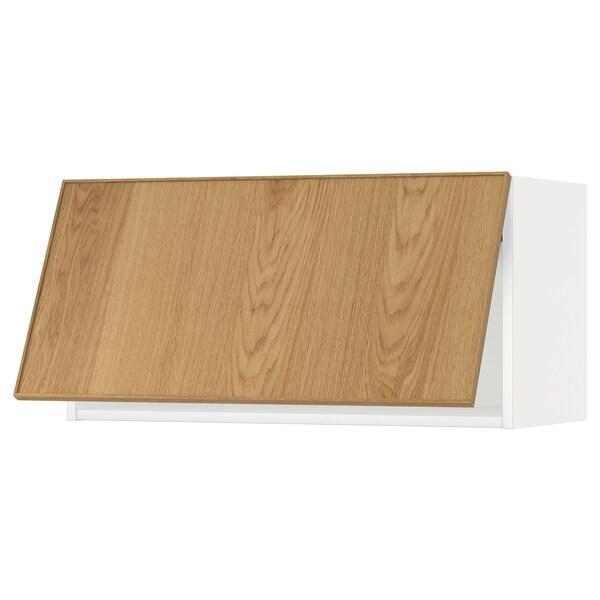 METOD Wall cabinet horizontal, white/Ekestad oak, 80x37x40 cm