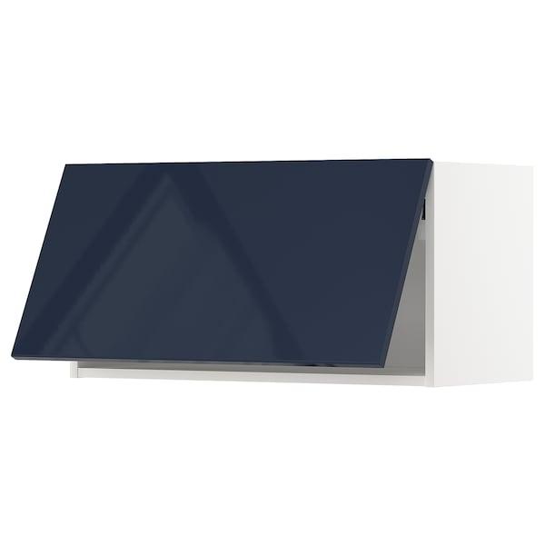 METOD Wall cabinet horizontal, white/Järsta black-blue, 80x40 cm