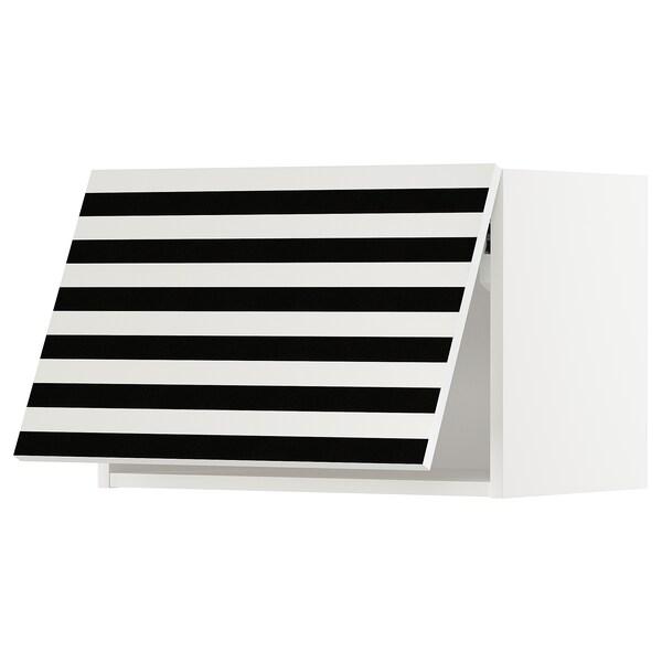 METOD Wall cabinet horizontal, white/Ytterbyn printed, 60x40 cm