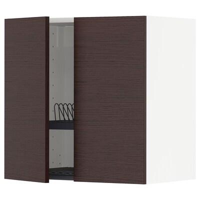 METOD Wall cabinet w dish drainer/2 doors, white Askersund/dark brown ash effect, 60x37x60 cm