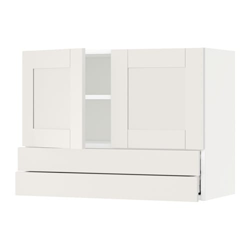 metod wall cabinet w 2 doors 2 drawers s vedal white