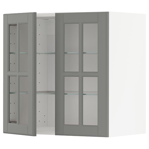 METOD Wall cabinet w shelves/2 glass drs, white/Bodbyn grey, 60x37x60 cm