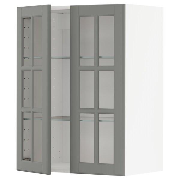 METOD Wall cabinet w shelves/2 glass drs, white/Bodbyn grey, 60x37x80 cm