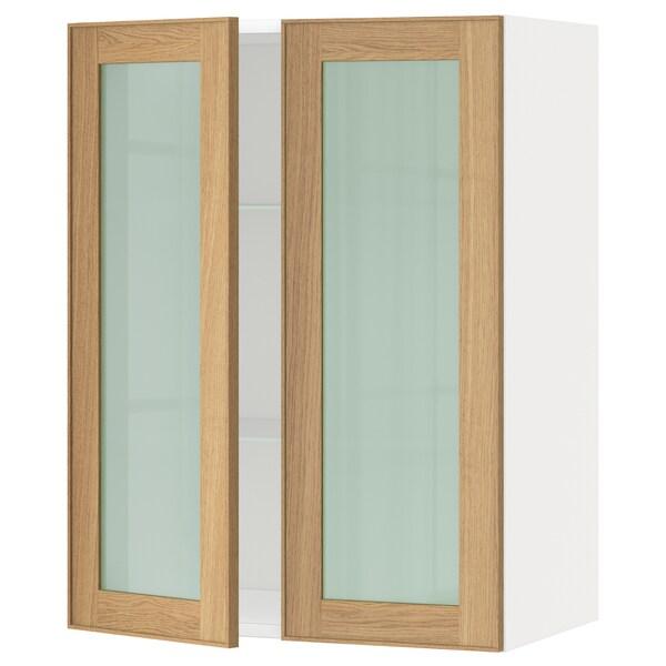METOD Wall cabinet w shelves/2 glass drs, white/Ekestad oak, 60x37x80 cm