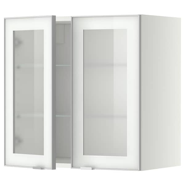 METOD Wall cabinet w shelves/2 glass drs, white/Jutis frosted glass, 60x37x60 cm