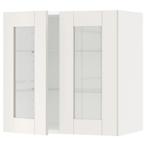 METOD Wall cabinet w shelves/2 glass drs, white/Sävedal white, 60x37x60 cm
