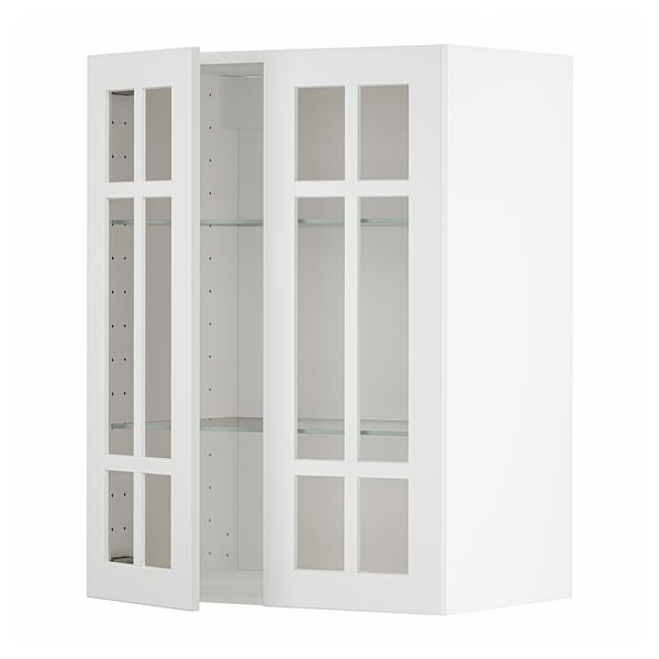 METOD Wall cabinet w shelves/2 glass drs, white/Stensund white, 60x37x80 cm