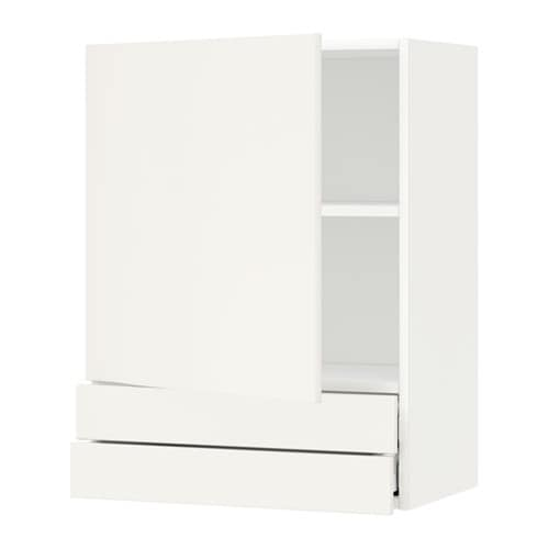 metod wall cabinet with door 2 drawers veddinge white