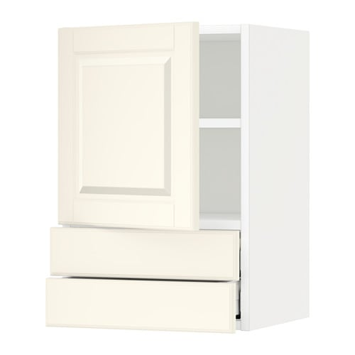 metod wall cabinet with door 2 drawers bodbyn off white