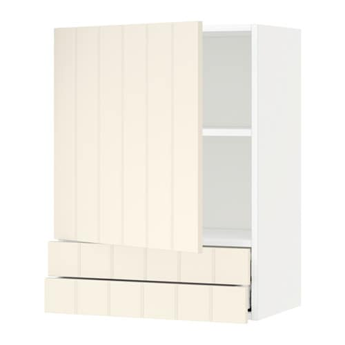 metod wall cabinet with door 2 drawers hittarp off white
