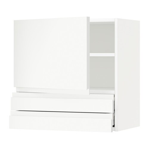 metod wall cabinet with door 2 drawers voxtorp white
