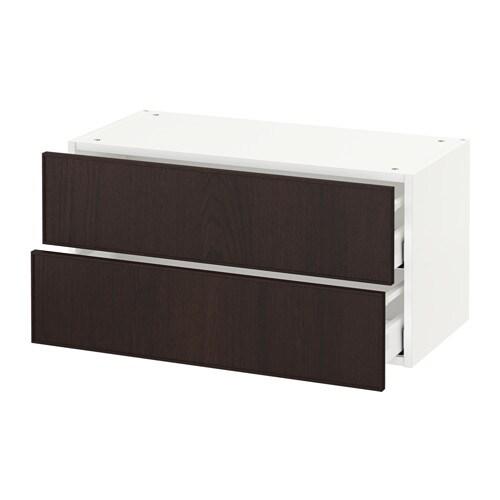 metod wall cabinet with 2 drawers ekestad brown