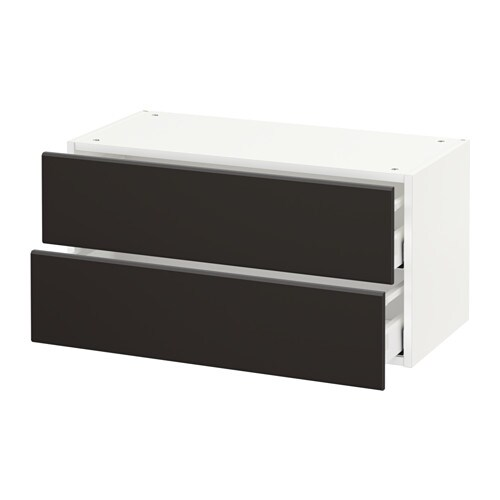 metod wall cabinet with 2 drawers kungsbacka anthracite