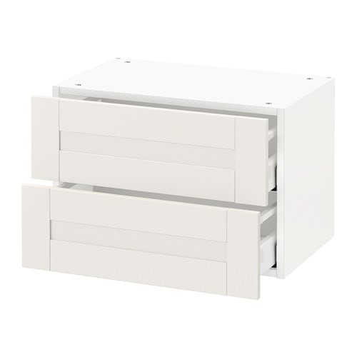 metod wall cabinet with 2 drawers s vedal white