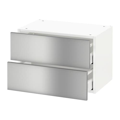 metod wall cabinet with 2 drawers grevsta stainless
