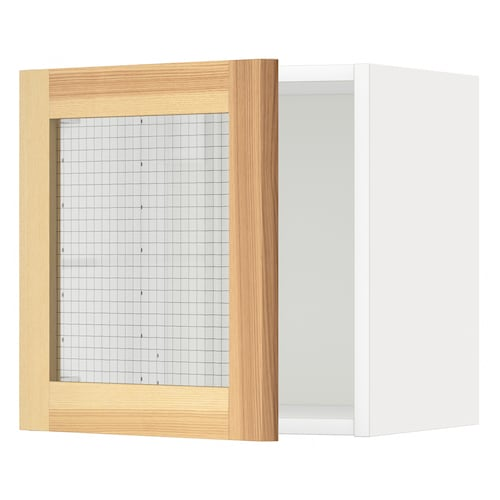 METOD wall cabinet with glass door white/Torhamn ash 40.0 cm 37.0 cm 38.9 cm 40.0 cm