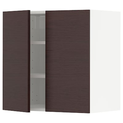 METOD Wall cabinet with shelves/2 doors, white Askersund/dark brown ash effect, 60x37x60 cm