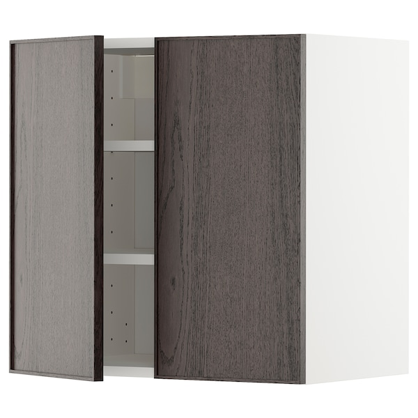 METOD Wall cabinet with shelves/2 doors, white/Ekestad brown, 60x37x60 cm