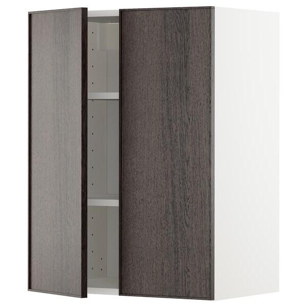 METOD Wall cabinet with shelves/2 doors, white/Ekestad brown, 60x37x80 cm