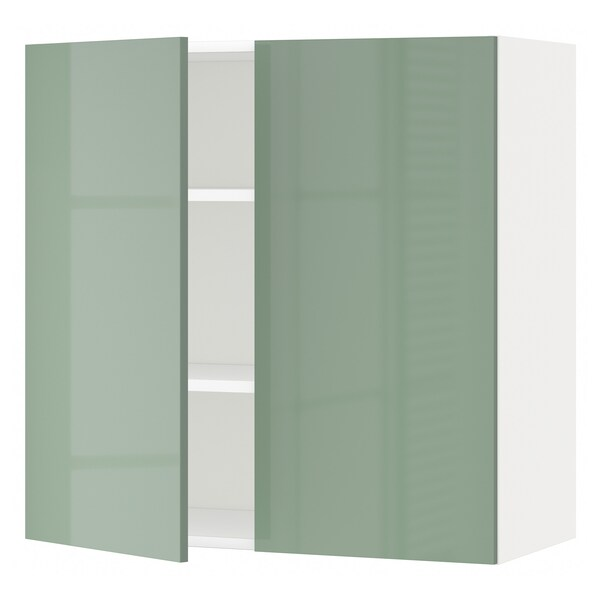 METOD Wall cabinet with shelves/2 doors, white/Kallarp light green, 80x37x80 cm