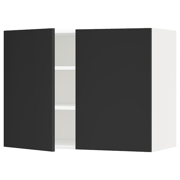 METOD Wall cabinet with shelves/2 doors, white/Uddevalla anthracite, 80x37x60 cm