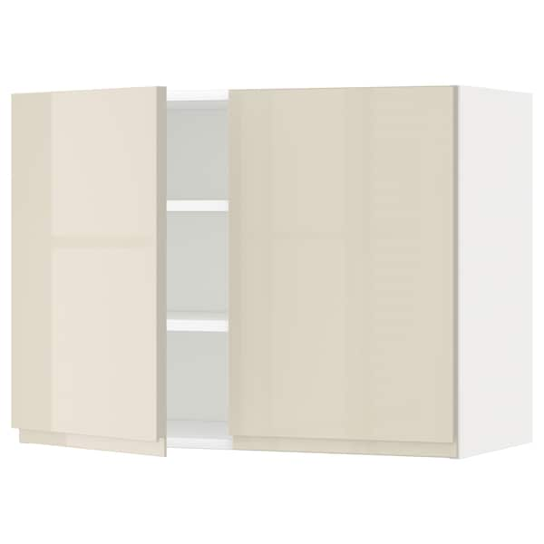 METOD Wall cabinet with shelves/2 doors, white/Voxtorp high-gloss light beige, 80x37x60 cm