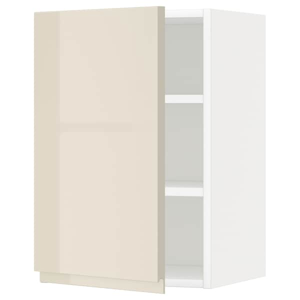 METOD Wall cabinet with shelves, white/Voxtorp high-gloss light beige, 40x37x60 cm